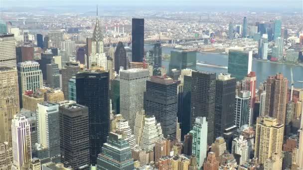 Pohled z vysokoúhlého úhlu Manhattan, New York City, Spojené státy americké.