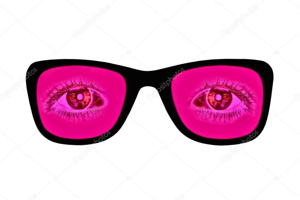 a6ade7434f Ροζ γυαλιά με κόκκινα μάτια μέσα σε απομονωμένα σε λευκό — Φωτογραφία  Αρχείου