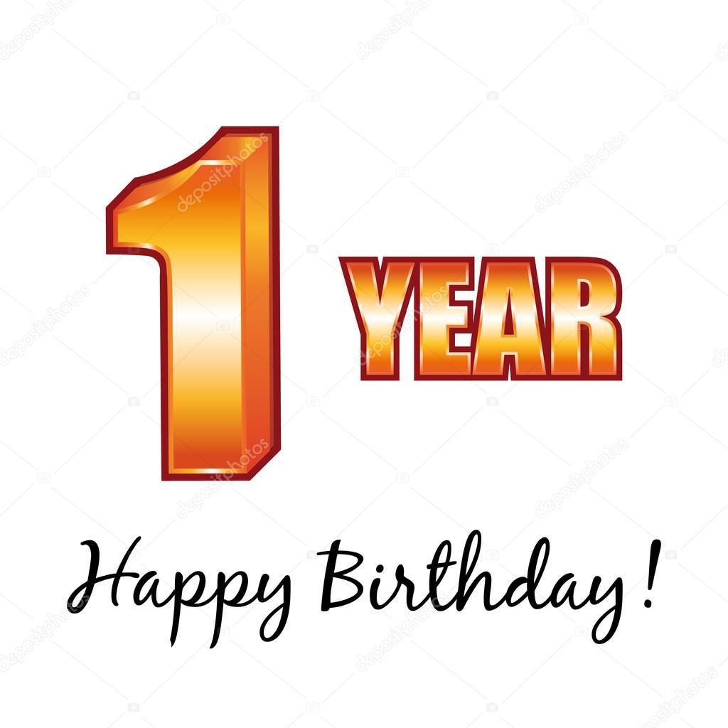 Greatest Happy birthday. 1 year old vector greeting card. — Stock Vector  UZ81