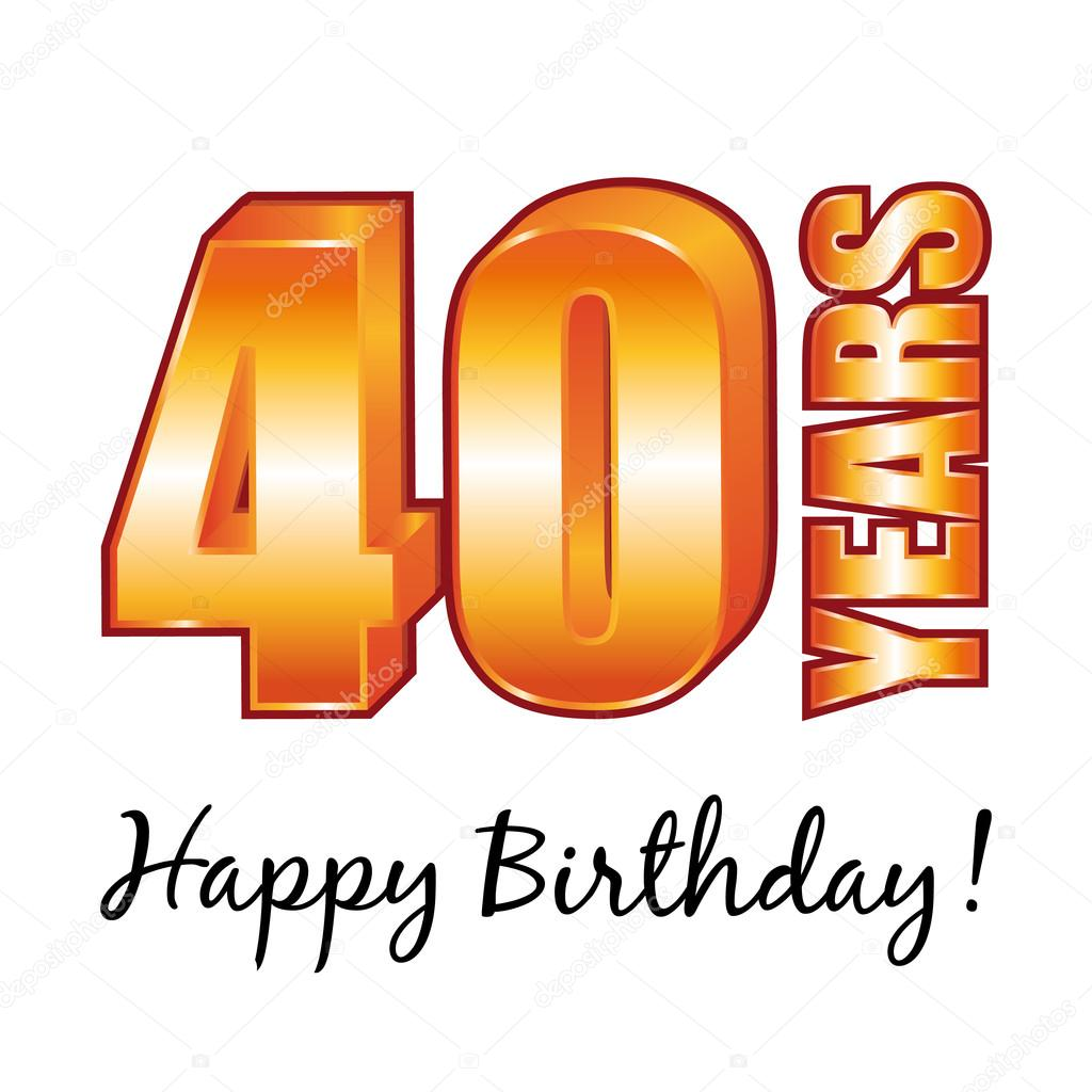happy birthday 40 years old vector greeting card ストック