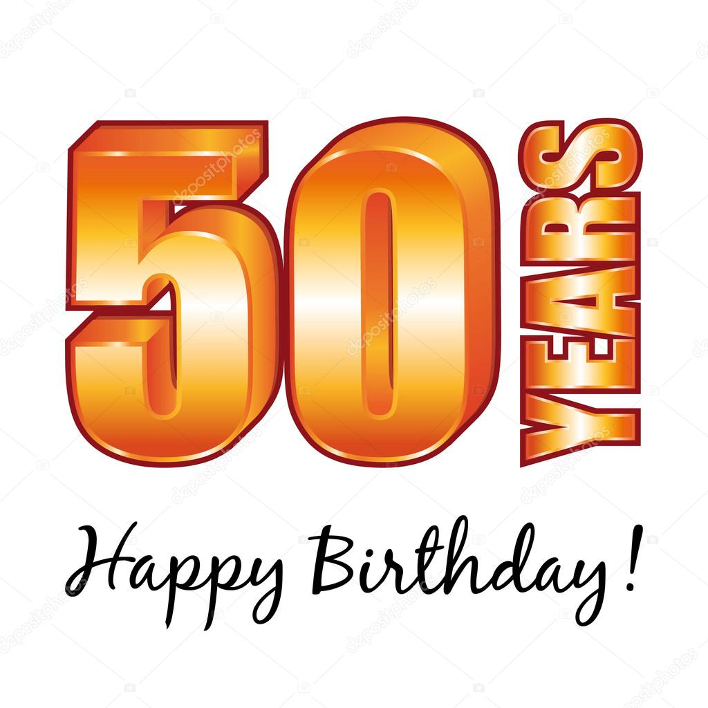 Happy Birthday 50 Years Old Vector Greeting Card Stock Vector