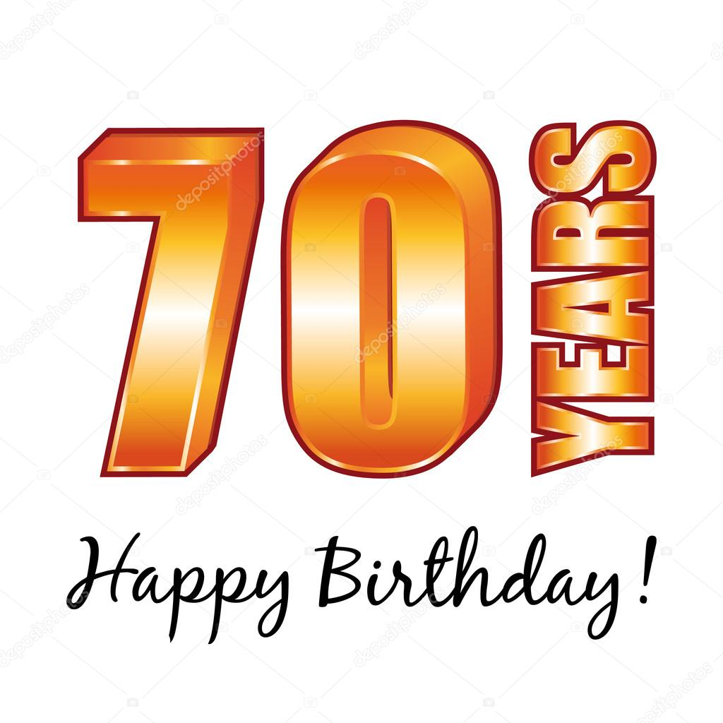 Happy Birthday 70 Years Old Vector Greeting Card Stockillustration