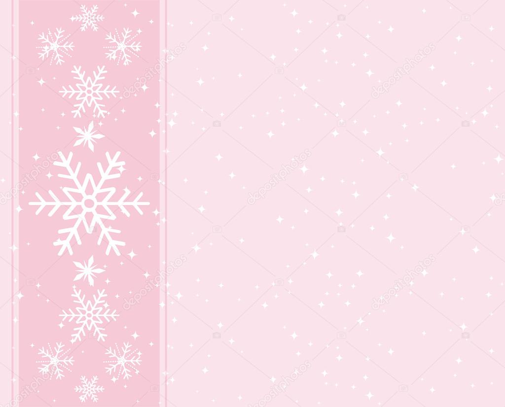 sweet light pink snowflakes background greeting card for