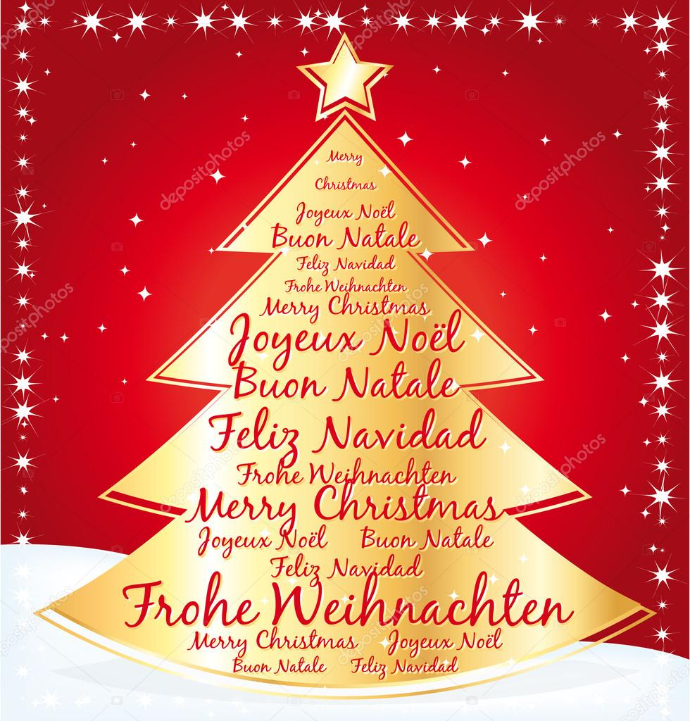 Gold christmas tree greeting card with best wishes in several languages.