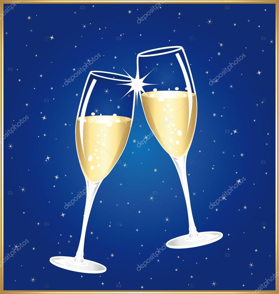 Brindisi di mezzanotte bella due coppe di champagne di for Imagenes de copas brindando