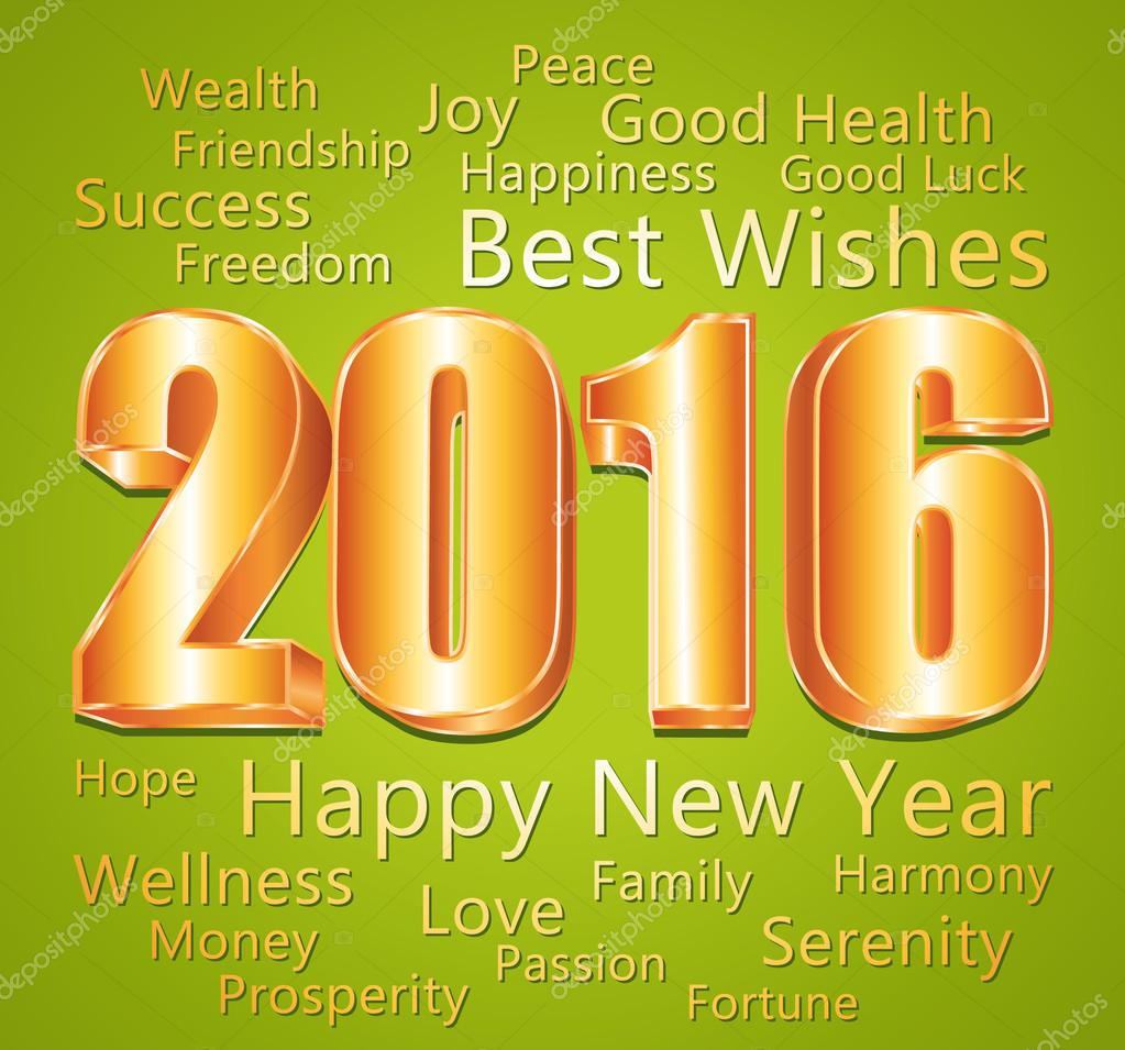 2016. Happy new year and best wishes. Green and gold greeting card.