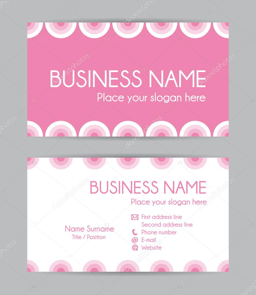 Sweet Graphic Business Card Design Front And Back Vector Set