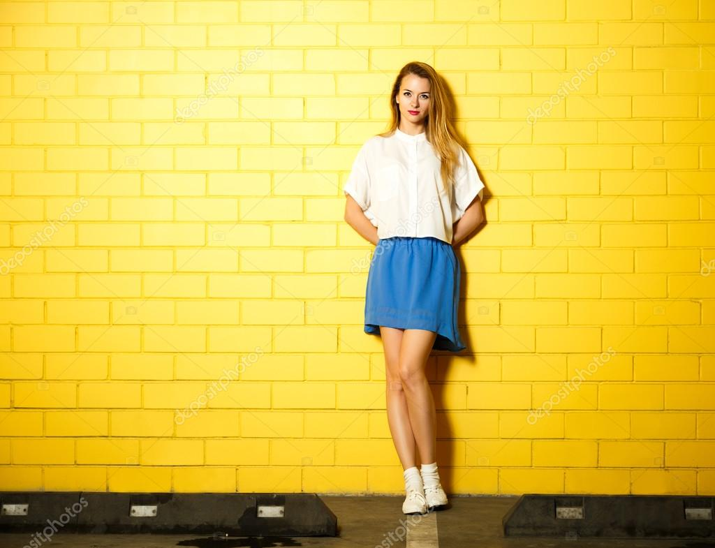 Hipster Fashion Girl At The Yellow Wall Stock Photo Brickrena 71130985