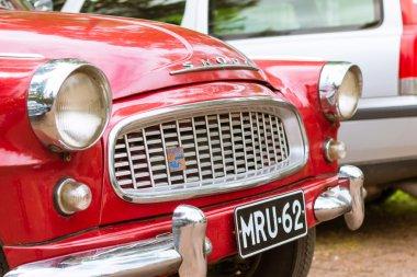 Red Skoda Felicia coupe, retro-club of Czech automaker