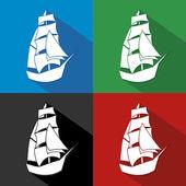 Jahrgang Schiff Logo Segelboot