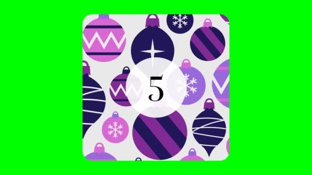 Weihnachten Adventskalender Peeling Sticker Enthüllungspaneele. 24 illustrierte quadratische Papiertafeln schälen sich für Chroma Green Screen.
