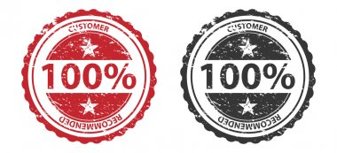 100% Quality Grunge Stamp Red and Black Isolated on white