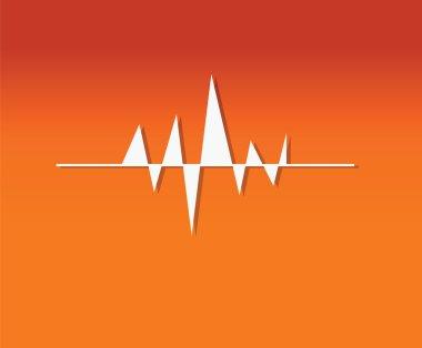 Orange Background With Music Wave
