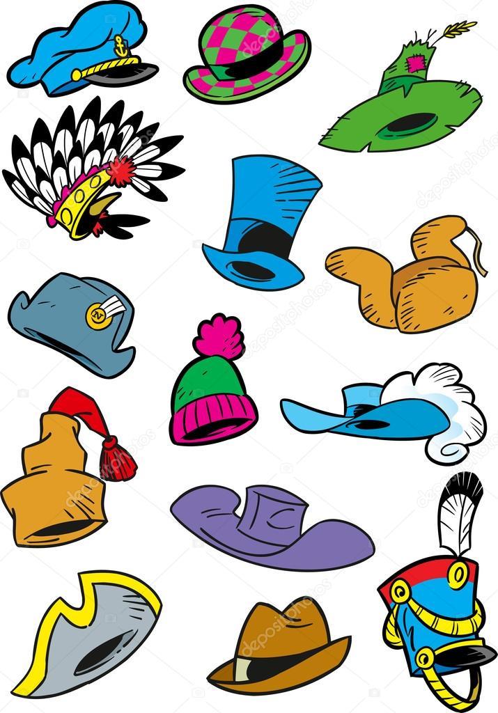 Varios dibujos animados de sombreros — Vector de stock ebb7c6da673
