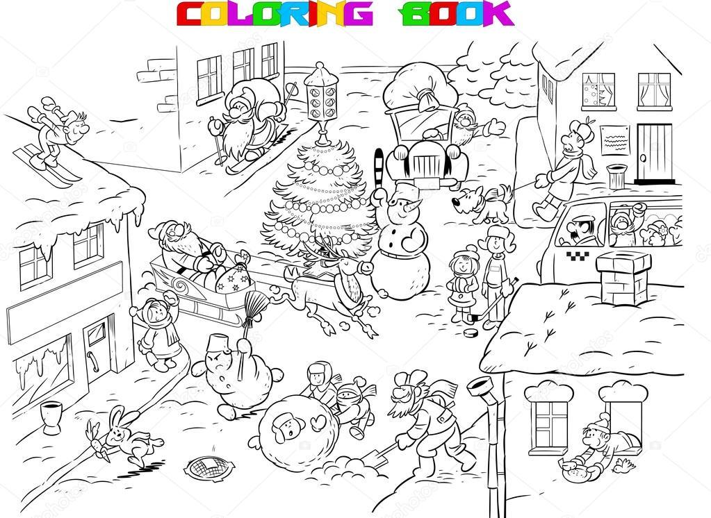 Kleurplaten Feestdagen.Kleurplaten Van De Feestelijke Stad Stockvector C Verzhy 118565780