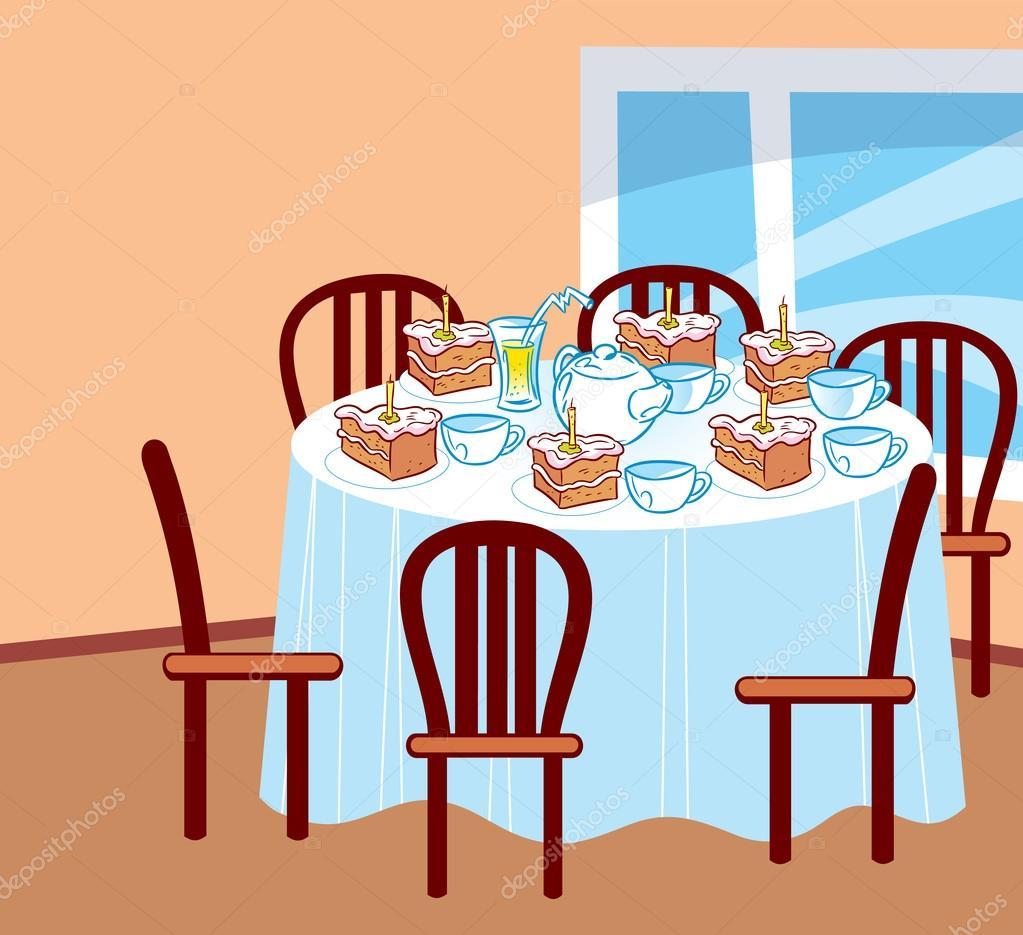 Celebratory table stock vector verzhy 54001389 - Feestelijke tafels ...