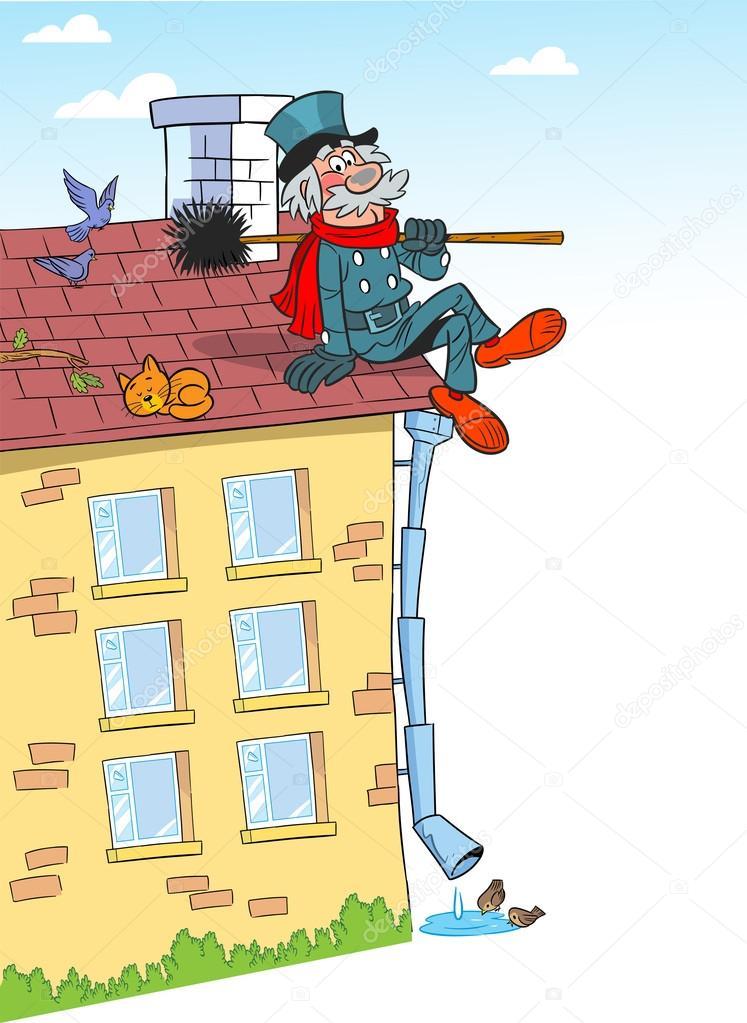 Cartoon chimney sweep on roof