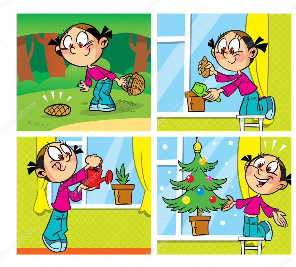 comics with a Christmas tree