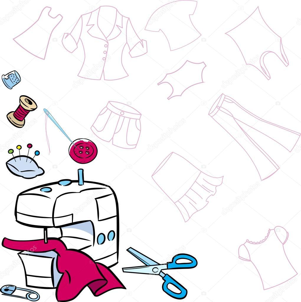 Herramientas para coser ropa   herramientas para coser — Vector de ...