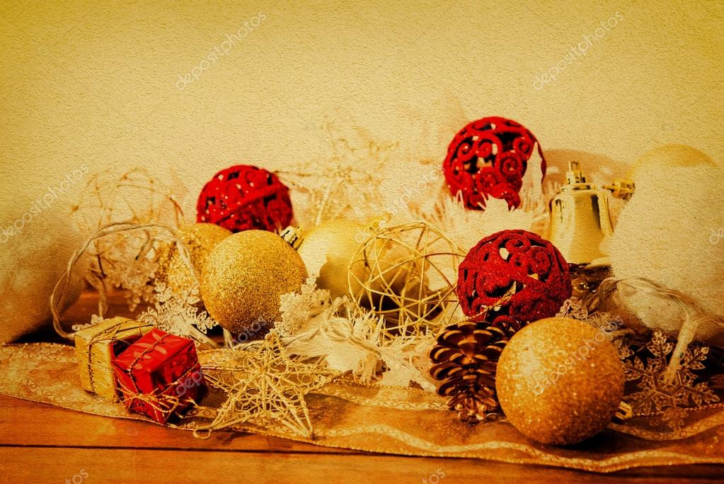 old fashioned christmas decorations stock photo
