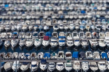 Aligned boats in Marseille