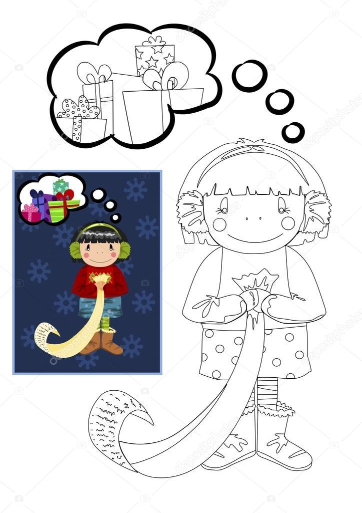 クリスマス プレゼントを夢見ている女の子塗り絵 ストックベクター