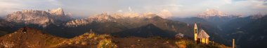 Evening panoramic view from dolomites mountains