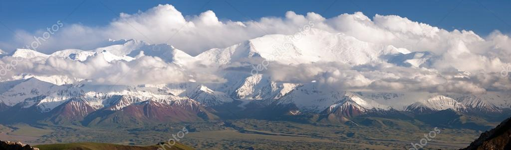 Panoramic view of Lenin Peak from Alay range - Kyrgyz Pamir Mountains - Kyrgyzstan and Tajikistan border- Central Asia
