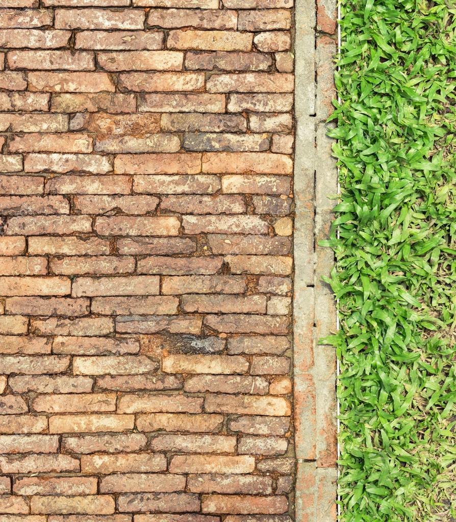 Top View Brick Walk Path And Grass Land Background Texture Stock Photo