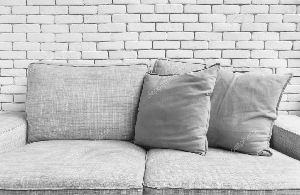 Grey Linen Sofa Couch Chair On White Brick Wall Background U2014 Stock Photo