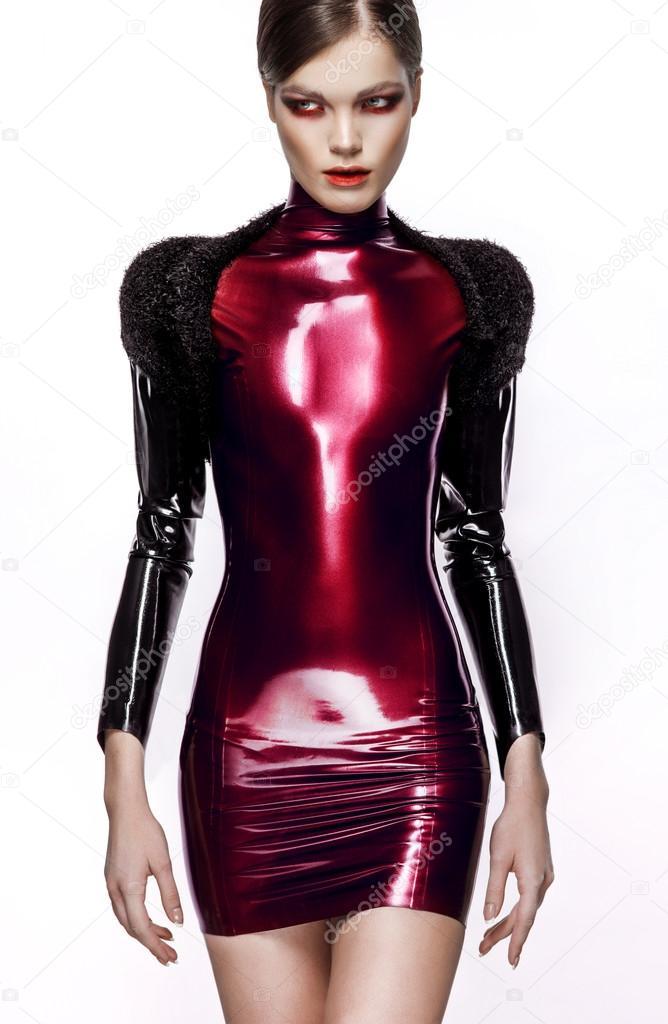 61dc2b351 Mulher sexy vestido de látex vermelho — Fotografias de Stock ...