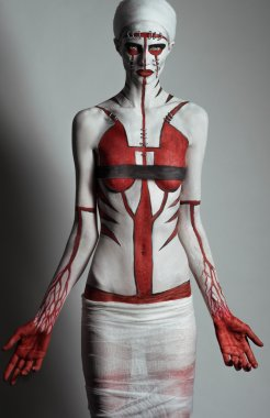 Model with creative body art