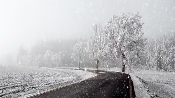 ländliche Winterstraße geht in den Nebel mit Schnee, Weihnachtsszene Hintergrund