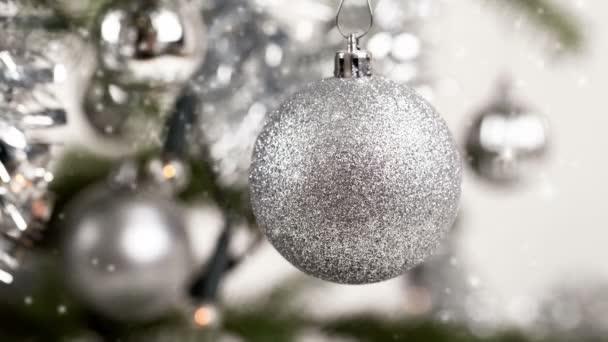 Plata Decoración árbol De Navidad Con Efecto Nieve