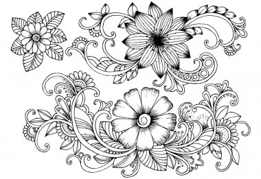 set floral doodles