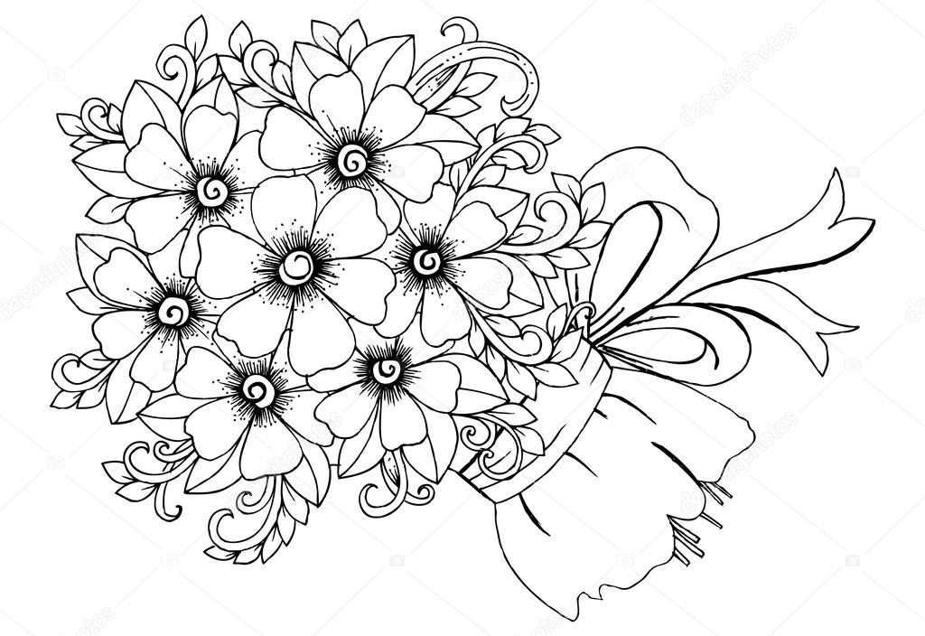 Imágenes Un Ramo De Flores Para Dibujar Ramo De Flores Con Lazo