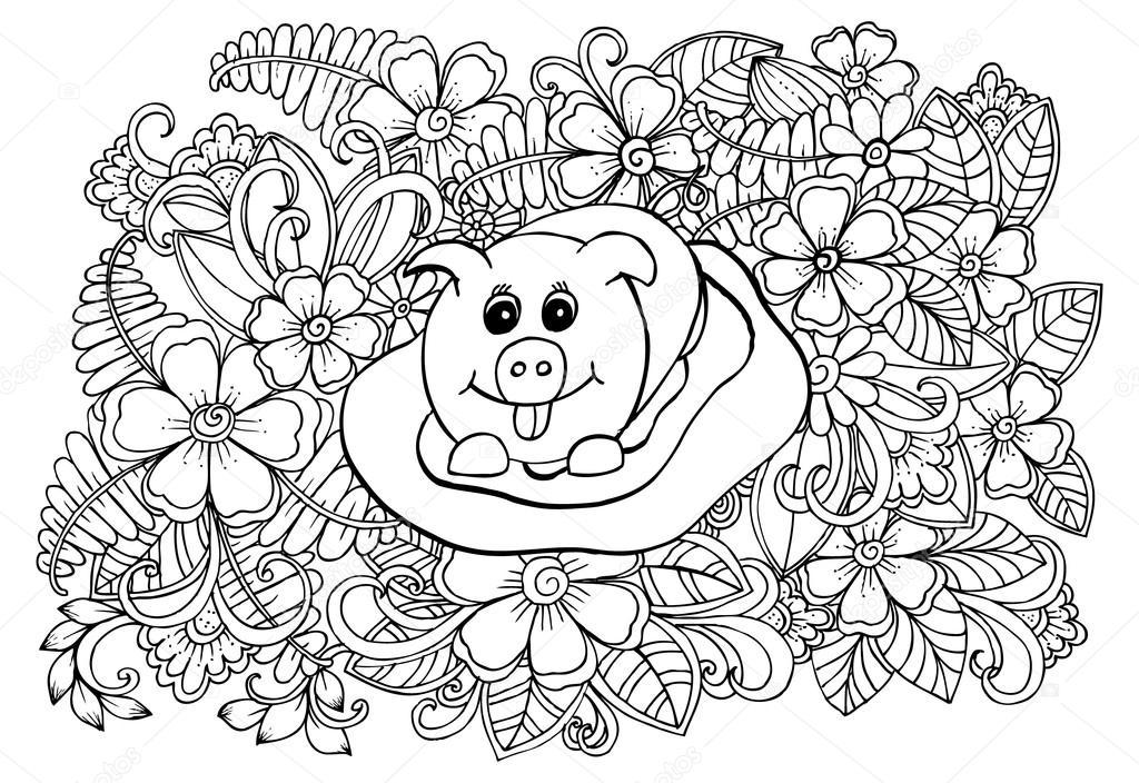 Cerdo divertido y hermosas flores para colorear — Vector de stock ...