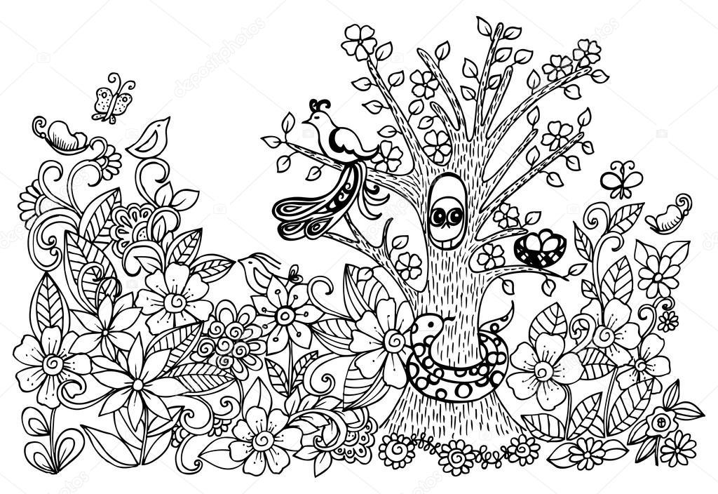 Kinderen Tekenen Van Bloemen En Vogels Stockvector C Emila1604