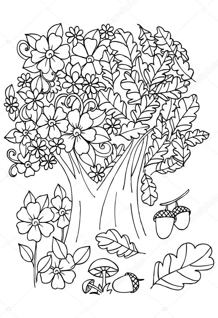 Kvetiny V Cerne A Bile Strom S Ptaky Kresleneho Umeni Pro Colo