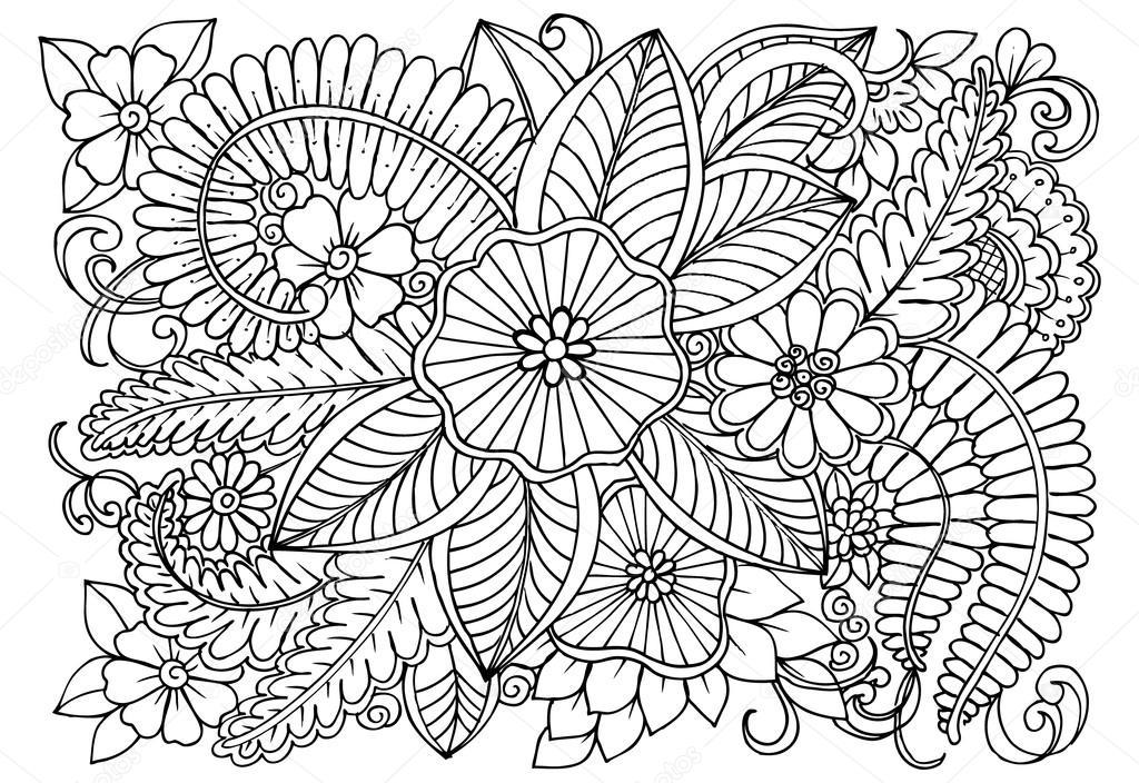 Doodle de patrón floral en blanco y negro. Página para colorear ...