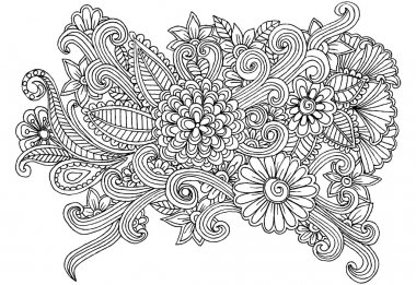 Vector doodle floral elements for design or coloring books