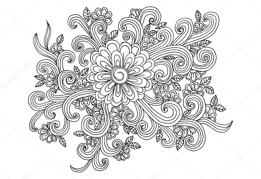 Elementos florales de vector doodle para diseño o libros para ...