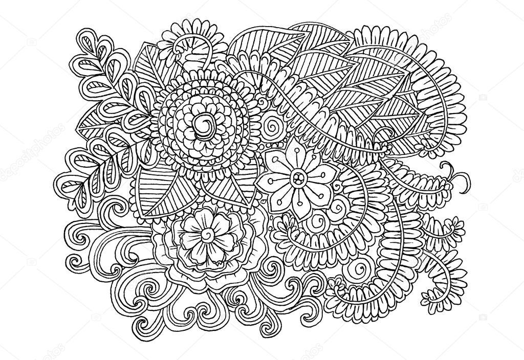 Elementi Floreali Di Doodle Di Vettore Per Il Disegno O Libri Da