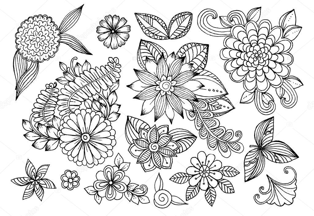 디자인 이나 색칠 공부 책에 대 한 벡터 낙서 꽃 요소 스톡 벡터 169 Emila1604 97707726