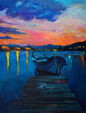 Original oil painting of boats and jetty(pier) on canvas.Rich golden Sunset over ocean.Modern Impressionism stock vector