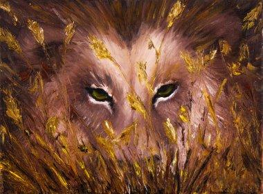 Wolf eyes in grass