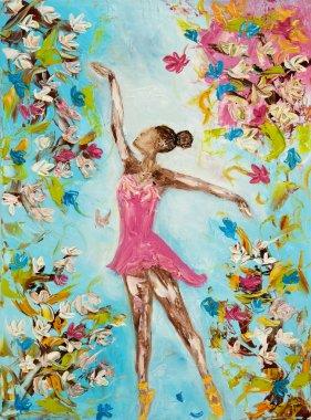 Ballet dancer around flowers