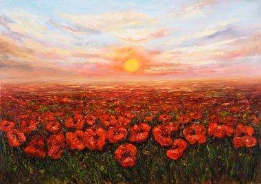 """Картина, постер, плакат, фотообои """"закат цветочных полей маслом натюрморт картина портрет зима"""", артикул 90755386"""