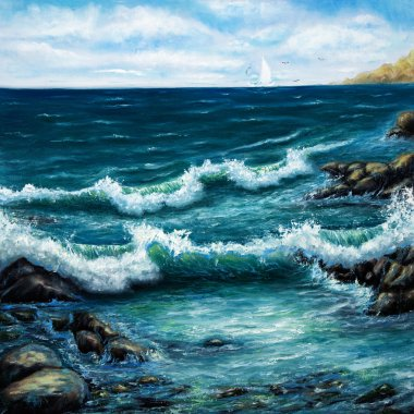 Ocean shore and waves