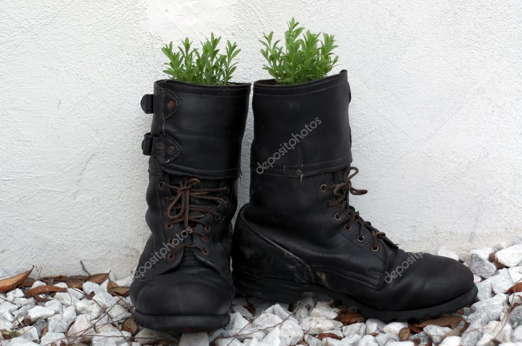 old army boot filled with lavender